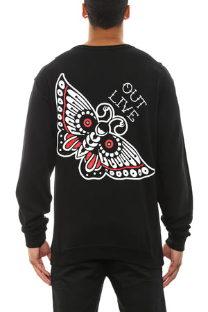 OUT LIVE BUTTERFLY CREW - Black