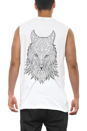 WOLF MUSCLE TEE - White