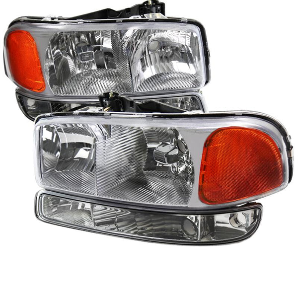99-06 GMC SIERRA CHROME EURO HEADLIGHTS WITH BUMPER LIGHTS