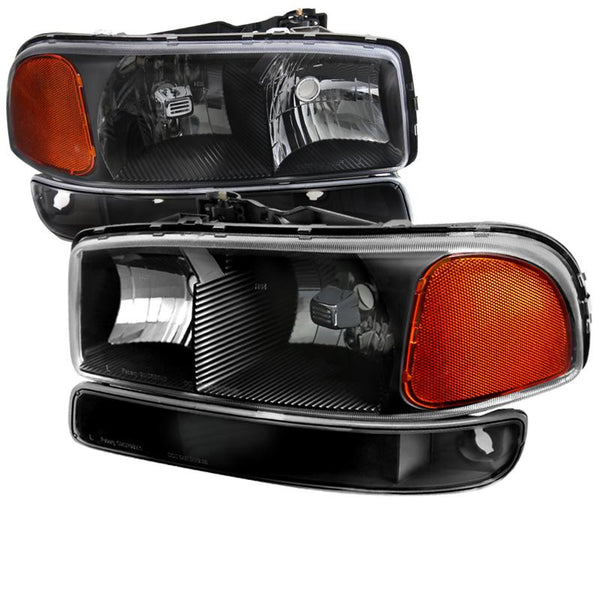 99-06 GMC SIERRA BLACK EURO HEADLIGHTS WITH BUMPER LIGHTS