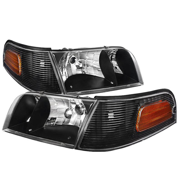 98-11 FORD CROWN VICTORIA BLACK EURO HEADLIGHT WITH CORNER