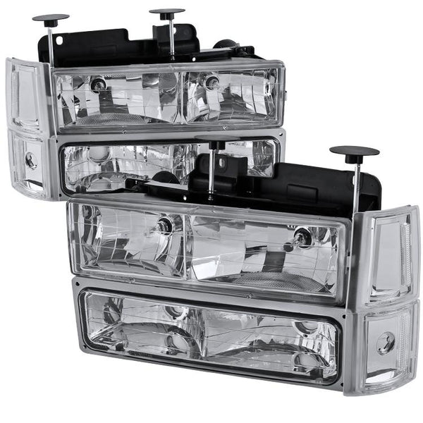 94-98 GMC SIERRA EURO HEADLIGHT WITH CORNER LIGHTS AND BUMPER LIGHTS CHROME