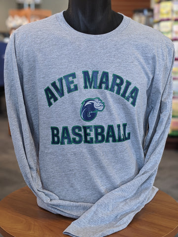 Grey Long Sleeve Ave Maria Baseball Tee