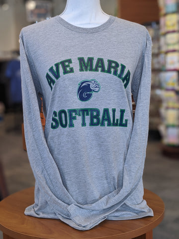 Grey Long Sleeve Ave Maria Softball Tee
