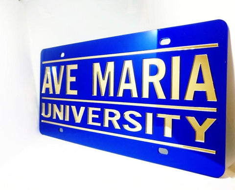 License Plate (Blue and Gold Ave Maria University)