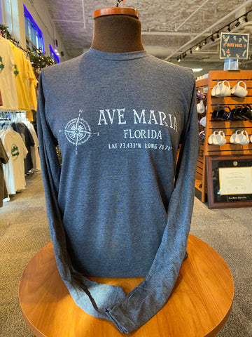 Ave Maria Compass Coordinates Heather Navy Long Sleeve