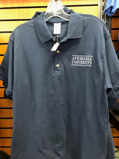Navy Ave Maria University Embroidered Cotton Polo by Gildan