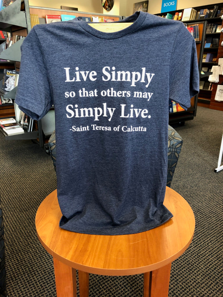 "St. Teresa of Calcutta ""Live Simply so That Others May Simply Live"" Heather Navy T-Shirt by Bella Canvas"
