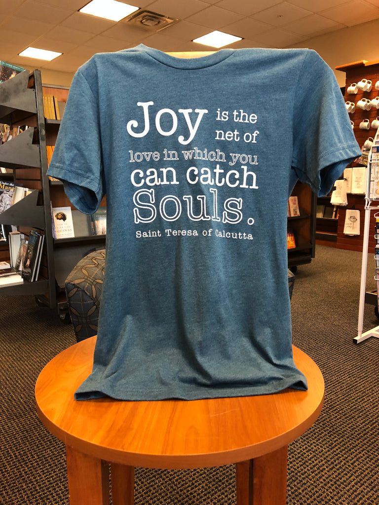 "St. Teresa of Calcutta ""Joy Catches Souls"" Dusty Blue T-Shirt"