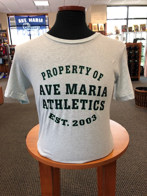 Property of Ave Maria Athletics Bella Canvas Light Blue