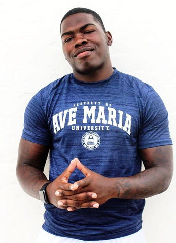 Men's Striated Dry-Fit Property of Ave Maria University Short Sleeve