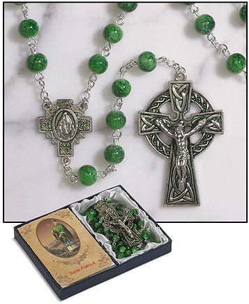 7 MM Irish Rosary with St. Patrick Prayer Card (by Sacred Traditions)