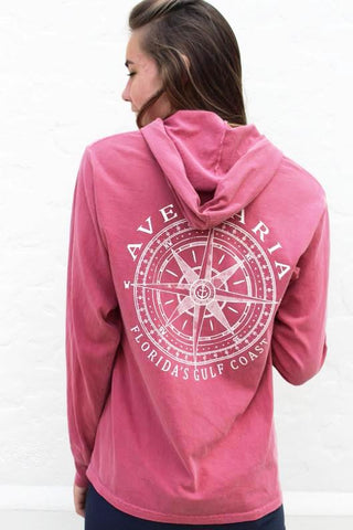 Long Sleeve Hooded Shirt with Compass Design by Blue 84