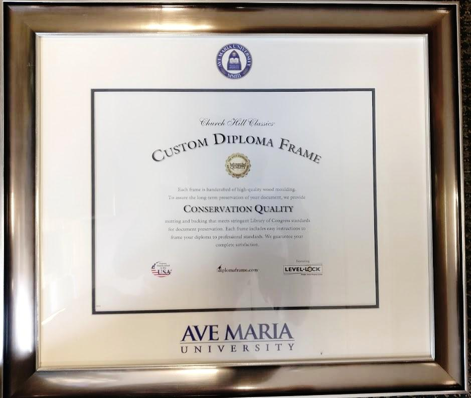 Ave Maria University Diploma with Blue and Gold Mat ,Classic Moulding
