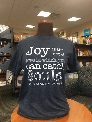 "St. Teresa of Calcutta ""Joy Catches Souls"" Heather Navy T-Shirt"