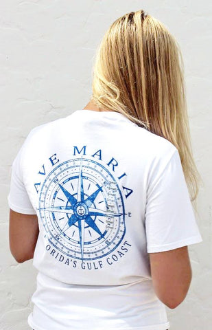 Short Sleeve T-Shirt with Compass Design by Blue 84