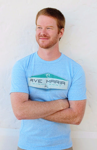 Men's Ave Maria Tri-blend Retro Surf Tee - Blue 84