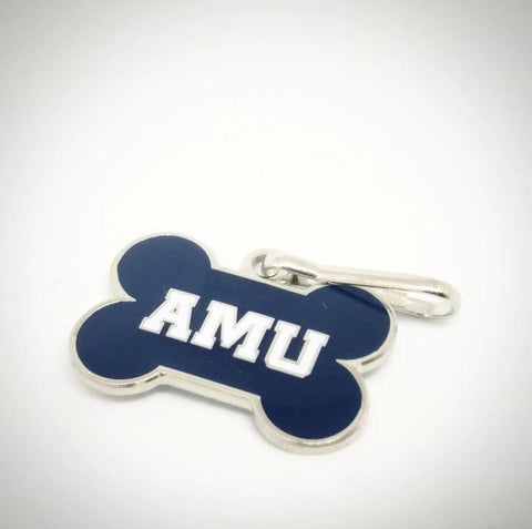 AMU Navy Blue Dog Bone Collar Tags
