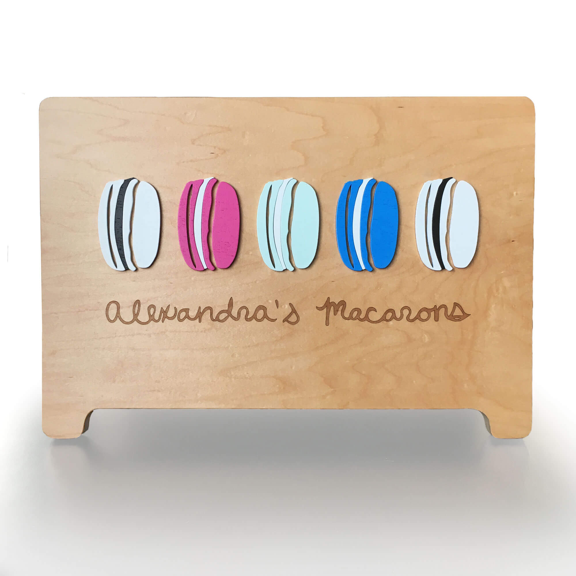SML created custom, laser cut and painted signage for Alexandra's Macarons of Seattle