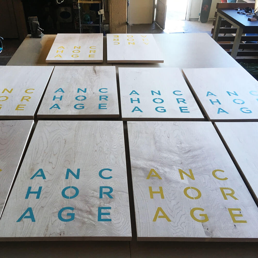 Custom signage made in collaboration with the Anchorage Museum for Design Weekend