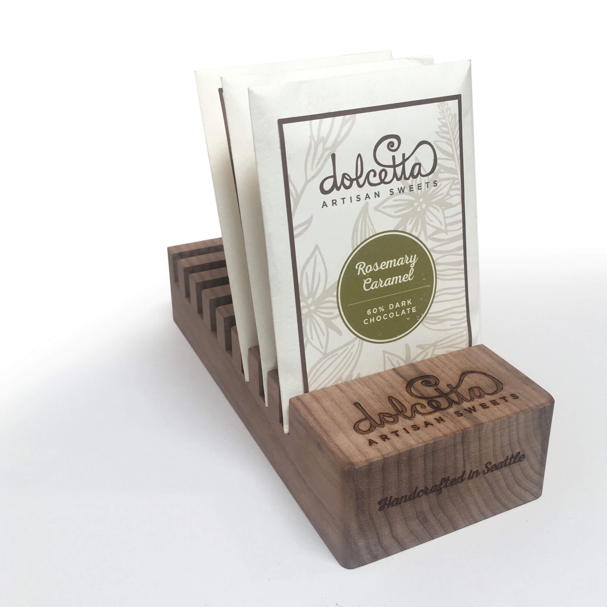SML created custom Chocolate Bar display stands for Dolcetta Artisan Sweets of Seattle