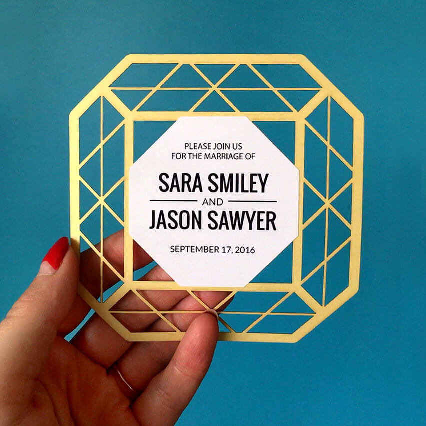 Laser cut paper wedding invite - diamond shaped invite
