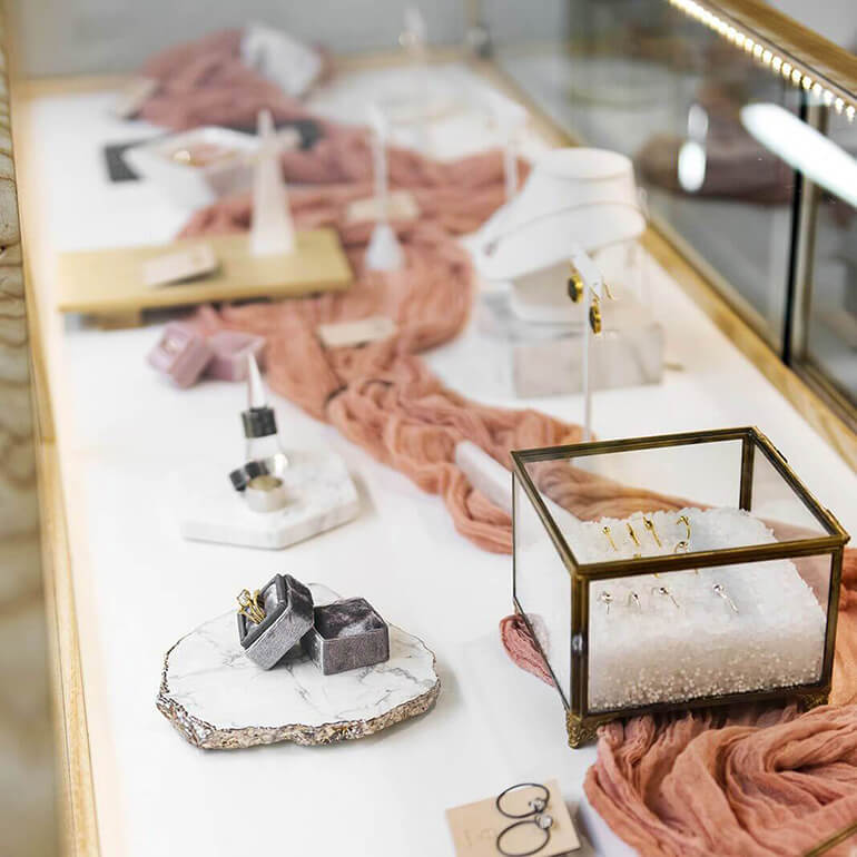SML created custom jewelry display for Silver and Salt in Seattle