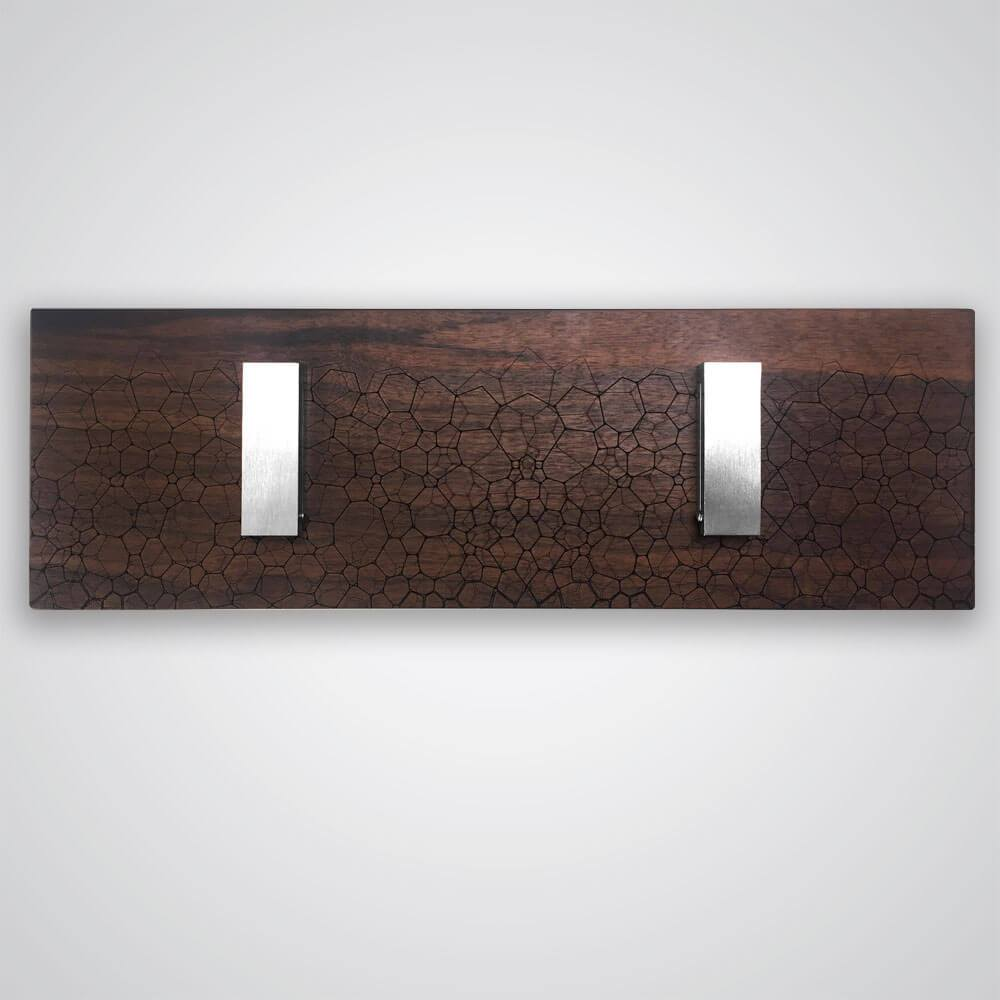 Fractal Coat Hanger in Dark Wood - 2 Hooks