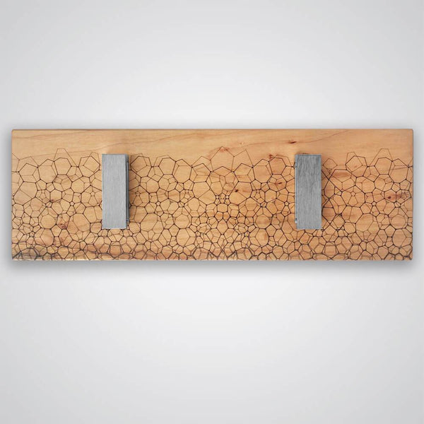 Fractal Coat Hanger in Light Wood - 2 Hooks