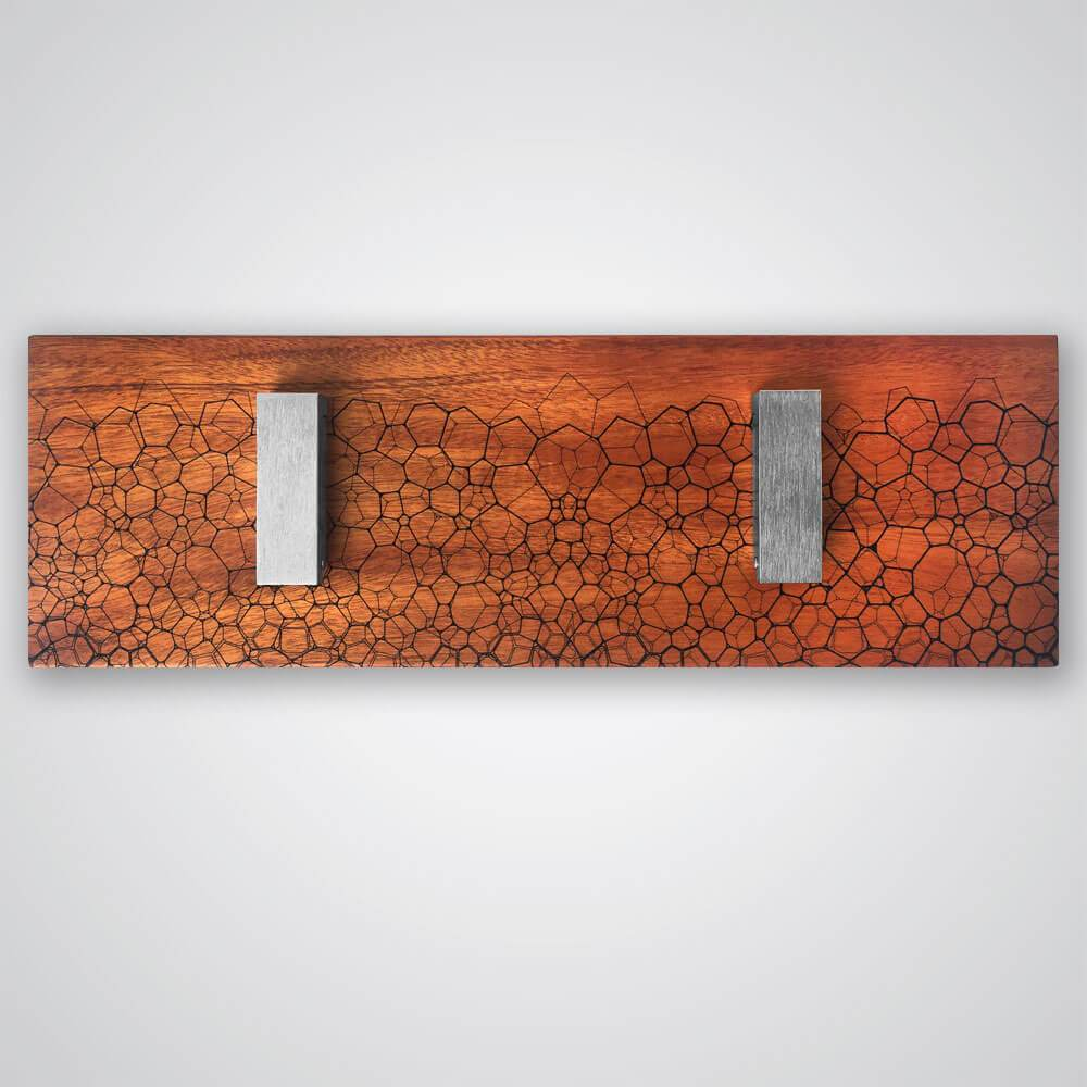 Fractal Coat Hanger in Red Wood - 2 Hooks