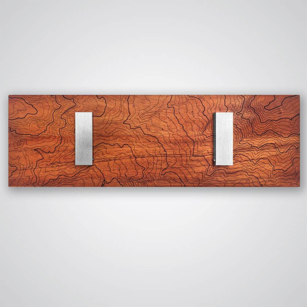 Mt Rainier Topography Coat Hanger in Red Wood - 2 Hooks