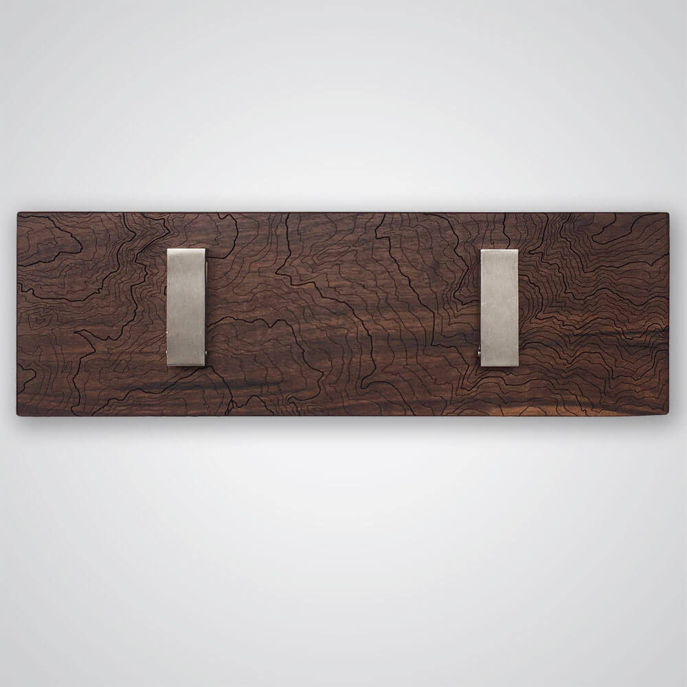 Mt Rainier Topography Coat Hanger in Dark Wood - 2 Hooks