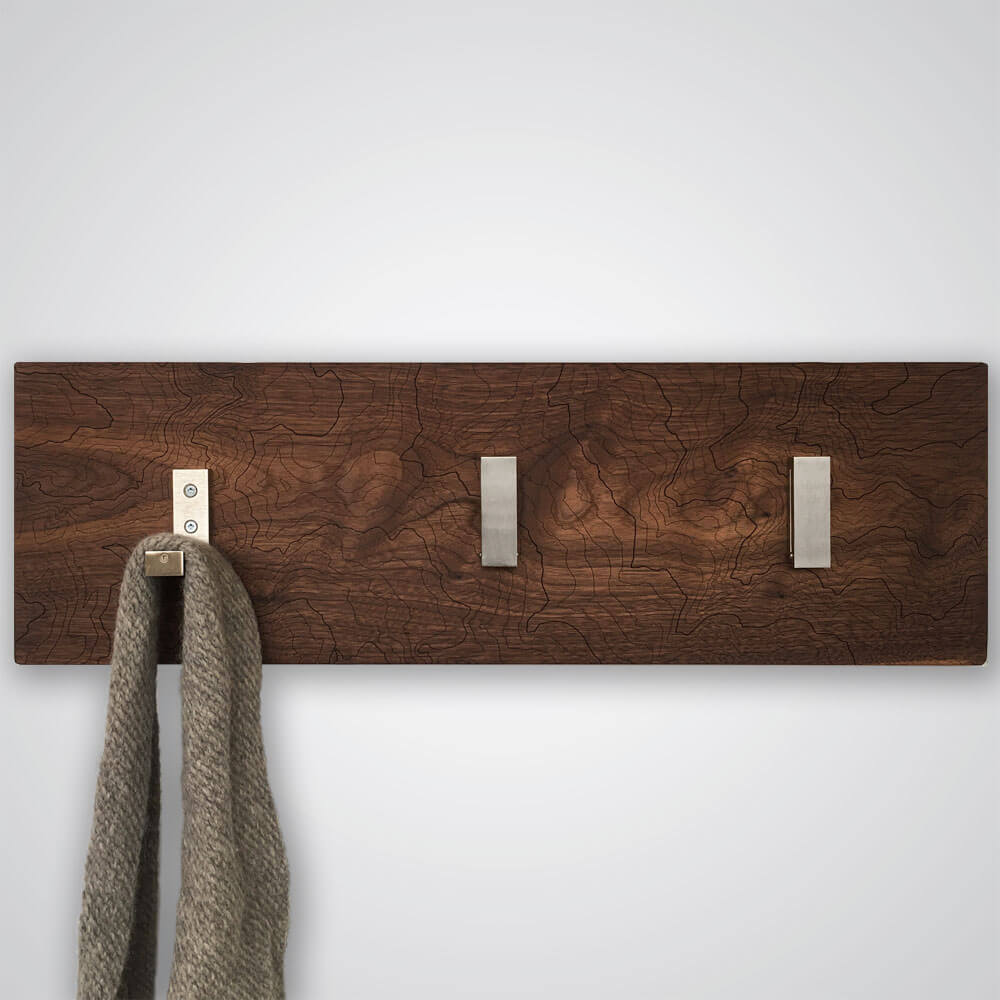 Mt Rainier Topography Coat Hanger in Dark Wood - 3 Hooks