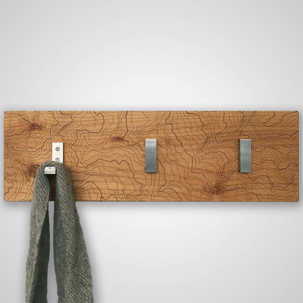 Mt Rainier Topography Coat Hanger in Light Wood - 3 Hooks