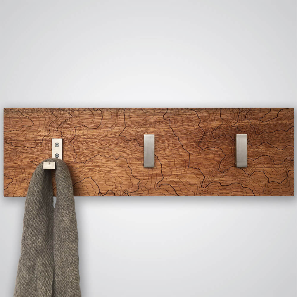 Mt Rainier Topography Coat Hanger in Red Wood - 3 Hooks