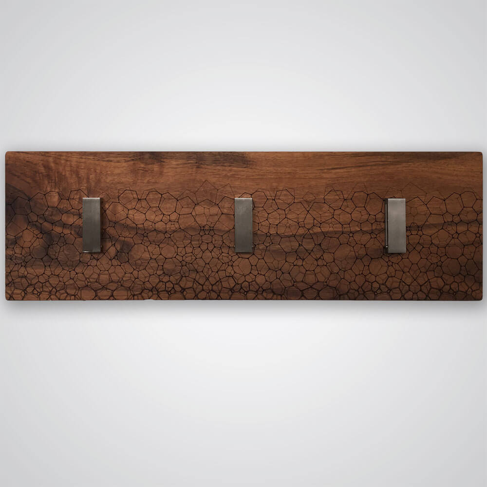 Fractal Coat Hanger in Dark Wood - 3 Hooks
