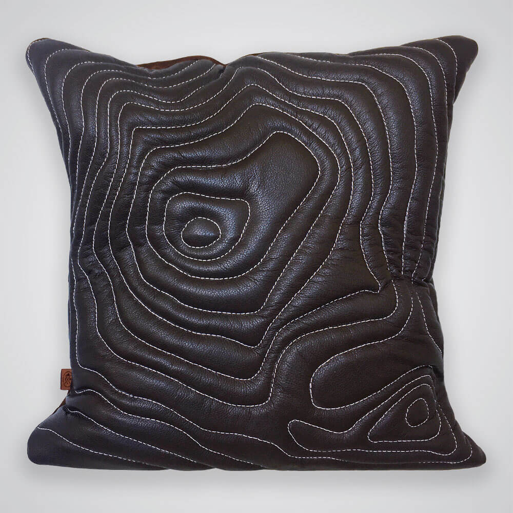 Mt Baker Topography Leather Pillow