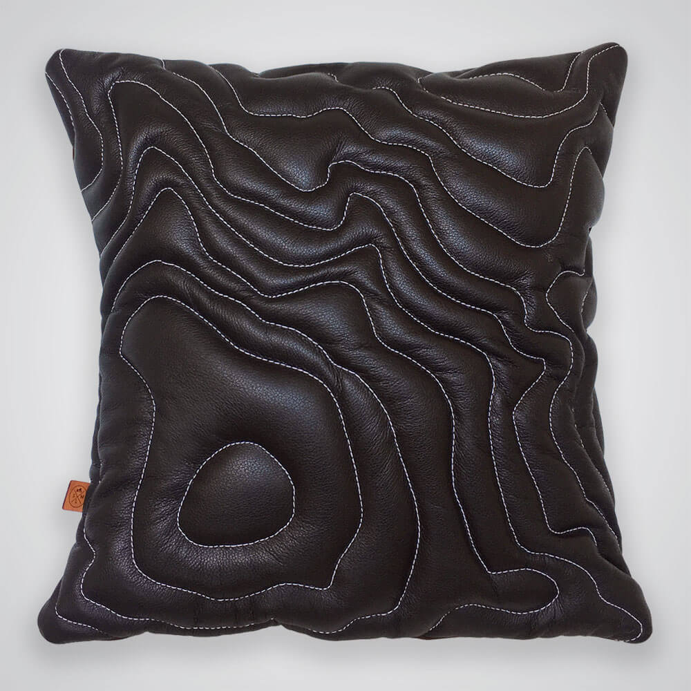 Mt Rainier Topography Pillow - Dark Brown Leather