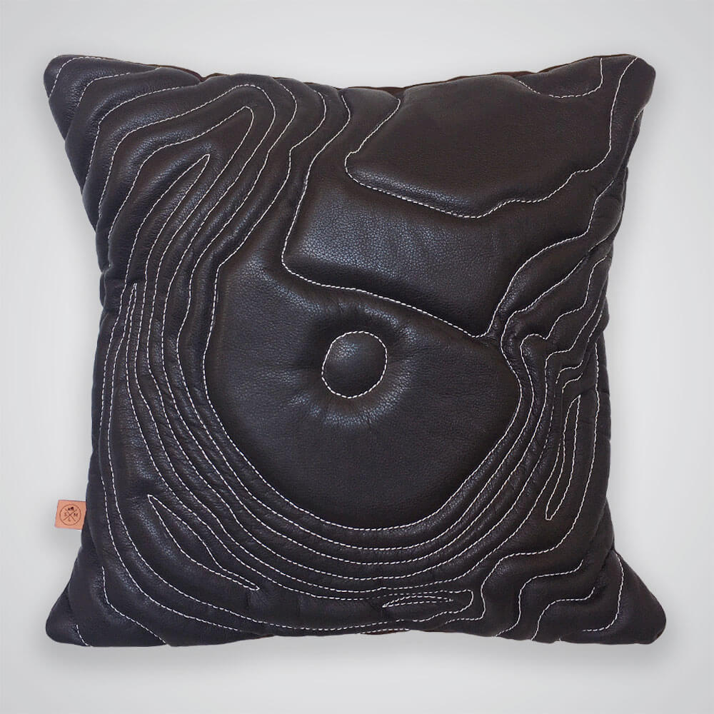 Mt St Helens Topography Pillow - Dark Brown Leather