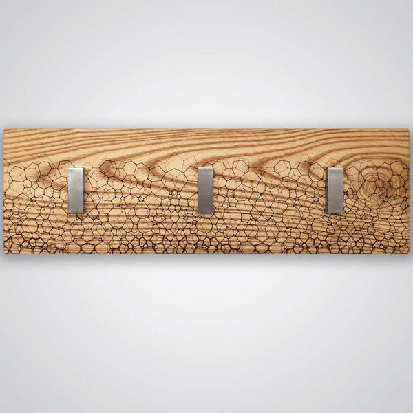 Fractal Coat Hanger in Light Wood - 3 Hooks