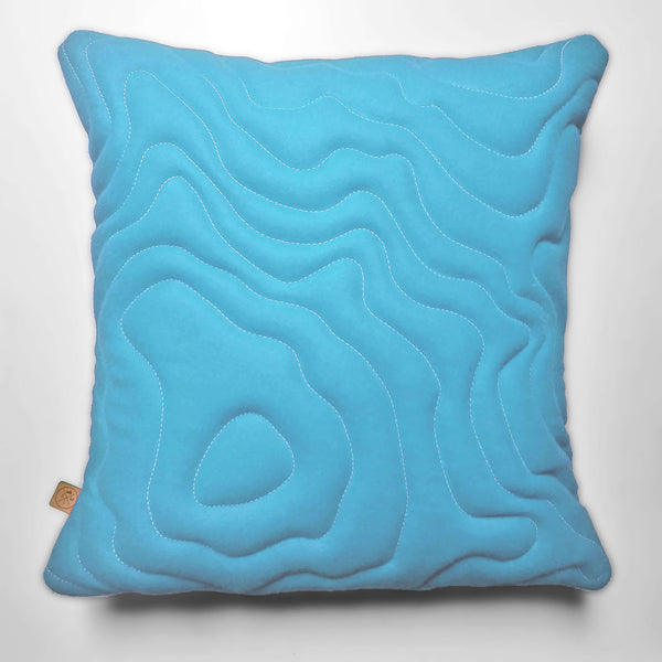 Mt Rainier Topography Pillow - Glacier Blue