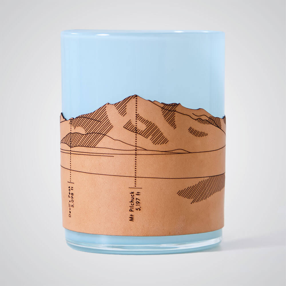 North Cascades Candle Votive in Blue Glass