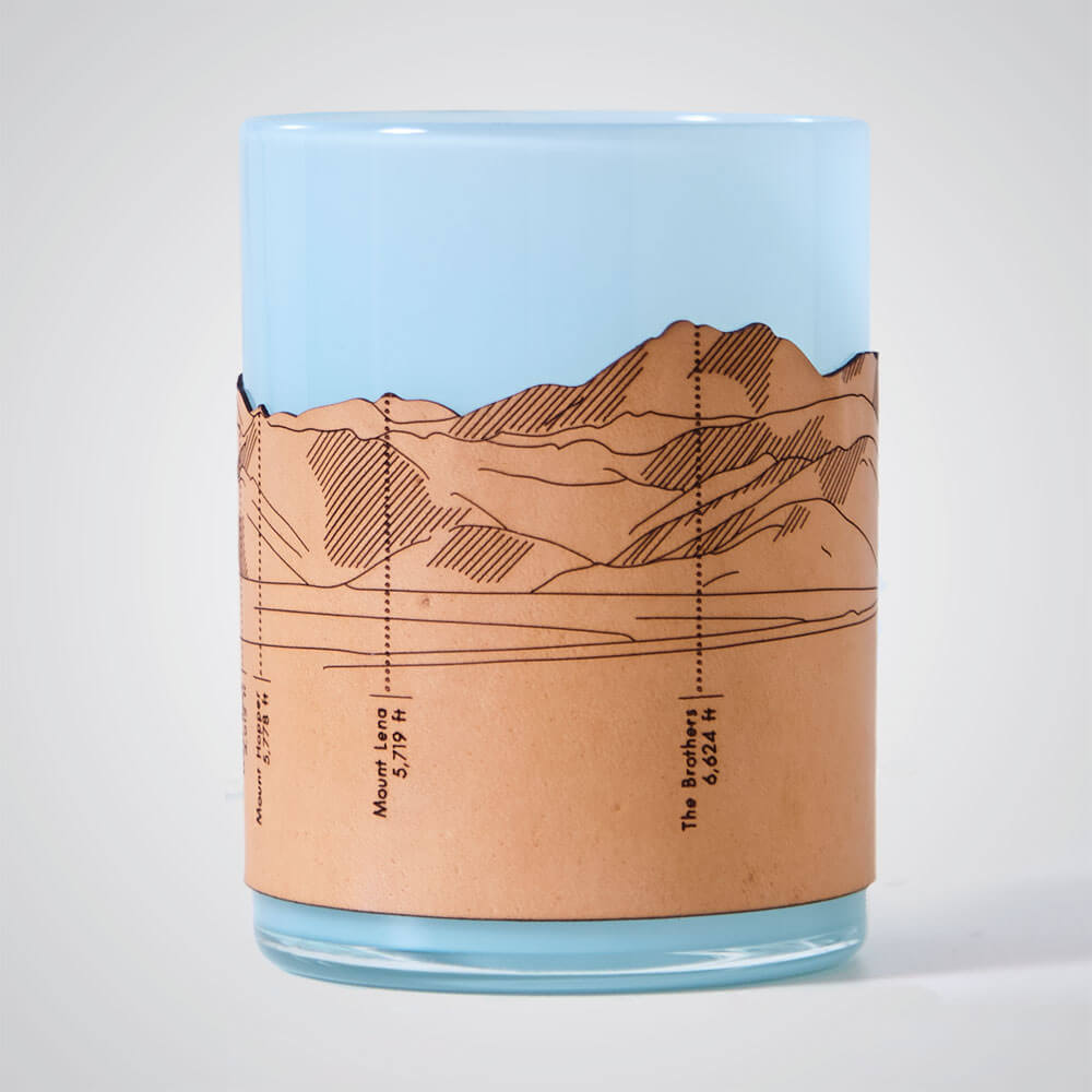 Olympic Mountains Candle Votive in Blue Glass