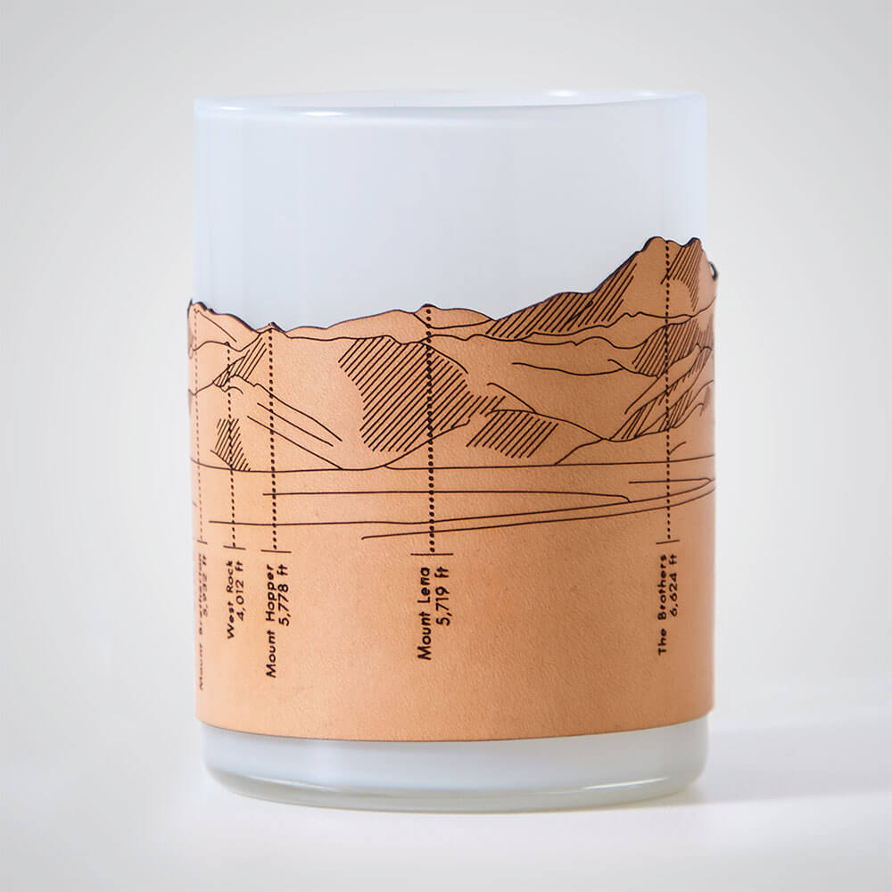 Olympic Mountains Candle Votive in Grey Glass