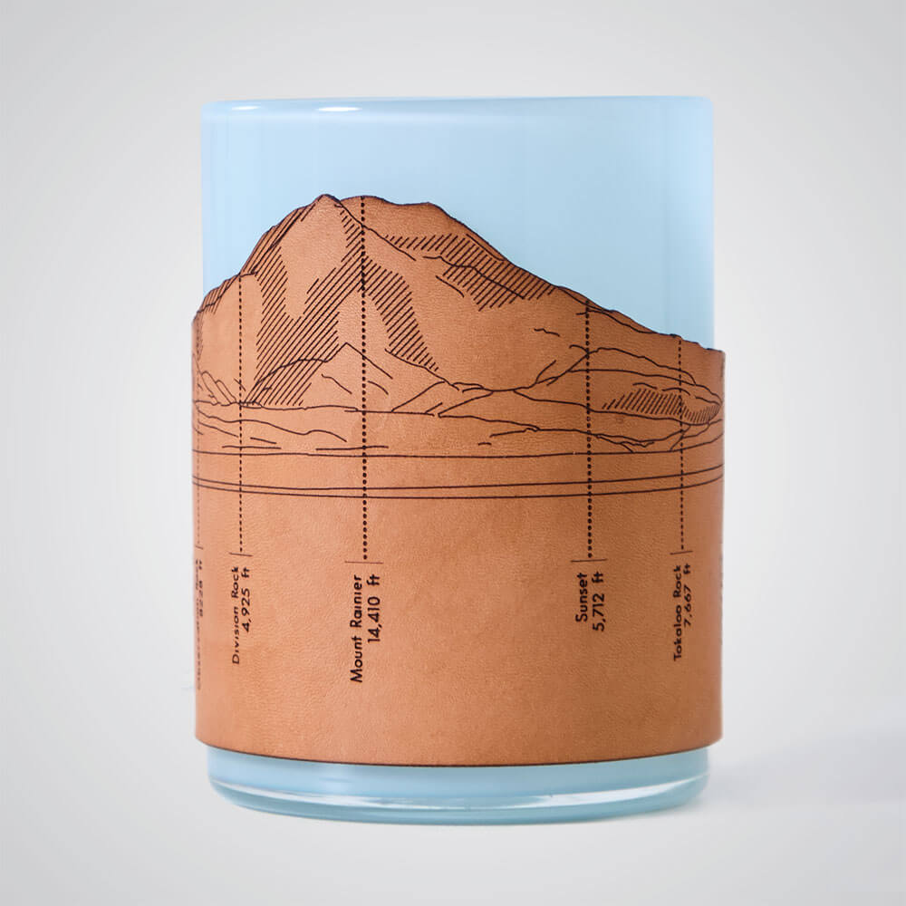 Mt Rainier Candle Votive in Blue Glass