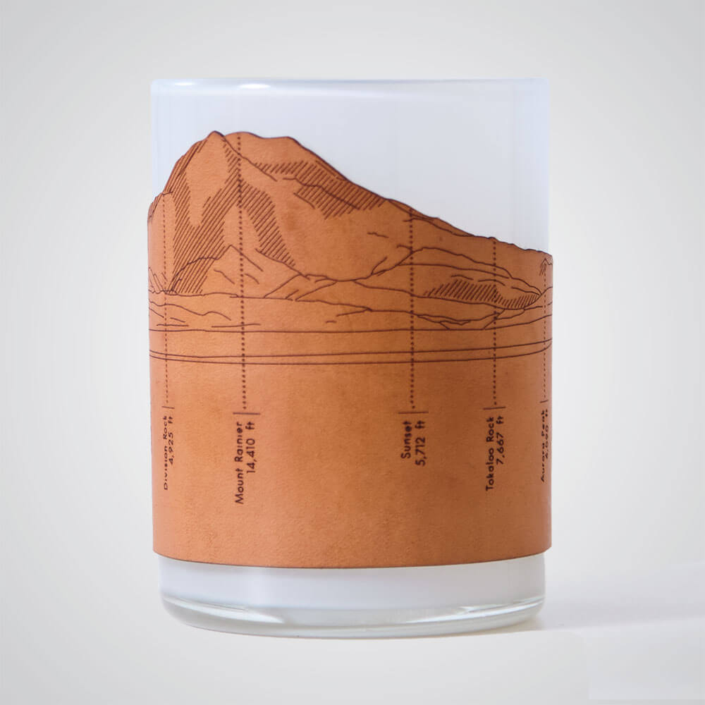 Mt Rainier Candle Votive in Grey Glass