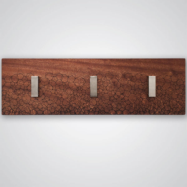 Fractal Coat Hanger in Red Wood - 3 Hooks