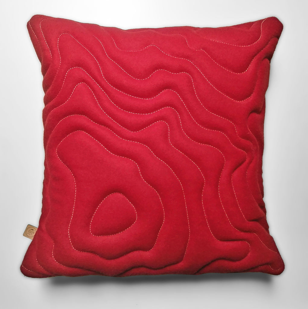 Mt Rainier Topography Pillow - Red Wool