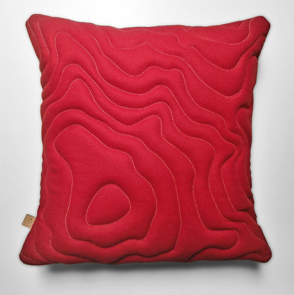 Mount Rainier Topography Pillow - Red Wool Housewares Designed by Sara Smiley