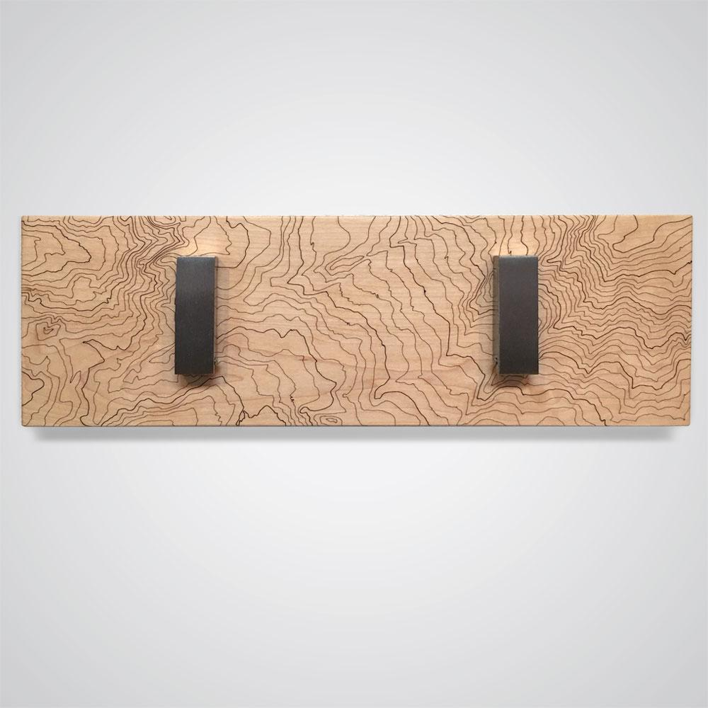 Mount Rainier Topographic Coat Hanger in Light Wood - 2 Hooks